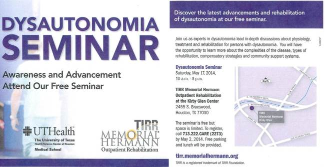 Dysautonomia Seminar Coming Soon to Houston!