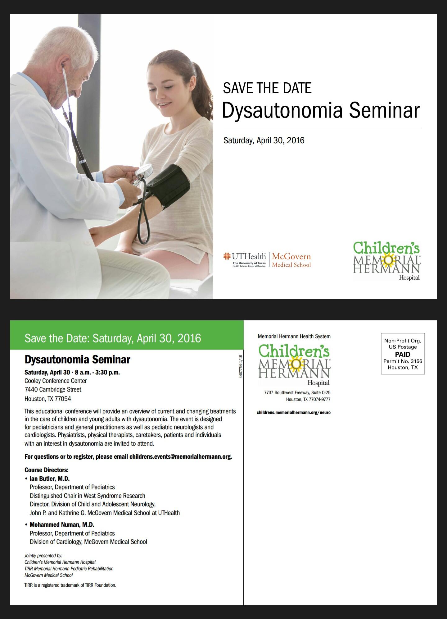 Dysautonomia Seminar (Houston, Tx) coming in April   Mik's