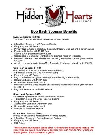 Boo Bash Sponsorship Benefits